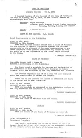 Special Council Meeting Minutes : May 4, 1976