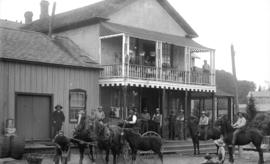 [Men, boys, and horses assembled outside Dockstader's Store, Haney, B.C.]
