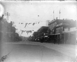 [Columbia Street, New Westminster, decorated with banners and flags for visit of Duke and Duchess...