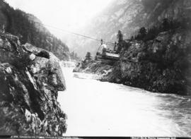 Crossing the Fraser Canyon by cable near Yale