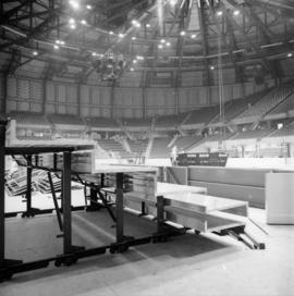 Installation of scoreboard in Pacific Coliseum