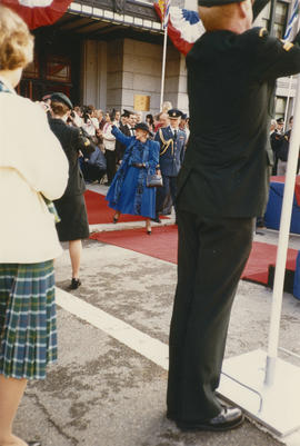 Jeanne Sauvé waving to crowd at Pacific Central Station