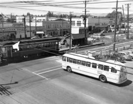[View of the first trolley bus and the last Vancouver Lulu Island inter urban tram near 41st Aven...