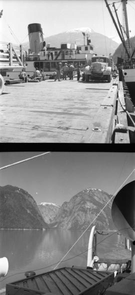 [Film crew loading supplies onto USS boat in Alaska; Alaskan scenery taken from a USS boat]