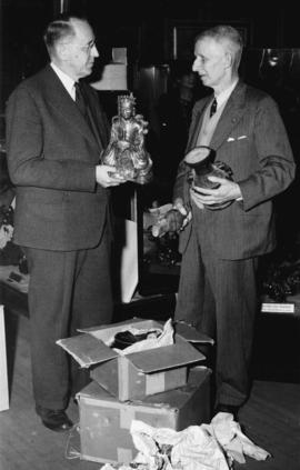 Alderman H. L. Corey and Curator T. P. O. Menzies [at Vancouver] City Museum