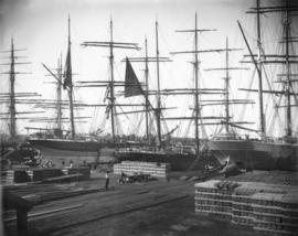 [Ships docked at Hastings Mill wharf]