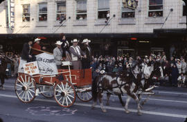 48th Grey Cup Parade, on Georgia and Howe, another shot of Cross of Calgary wagon and horses