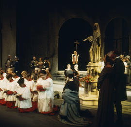 Performers on stage at Vancouver Opera's 1968 performance of Tosca, Act 1 1