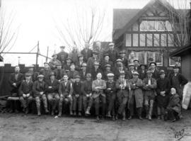 Group of workers outside Point Grey Municipal Hall
