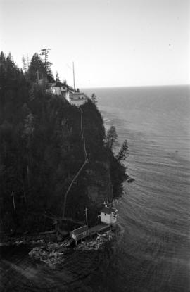 [View from the Lions Gate Bridge of Prospect Point signal station, lighthouse and boathouse]