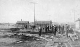 [Streetcar line construction on Powell Street looking west from Westminster Avenue (Main Street)]