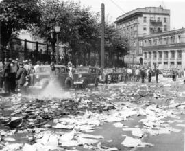 [Vancouver Daily Province newspaper strewn on Cambie Street after the printers' strike riot]