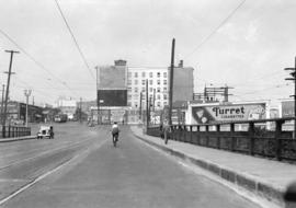 [Looking north from the Granville Bridge towards Pacific Street]
