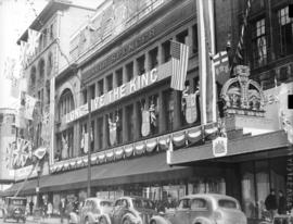 [David Spencer Department Store on Hastings Street decorated for visit of King George VI and Quee...