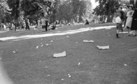 [Litter scattered in Malkin Bowl after a park concert]