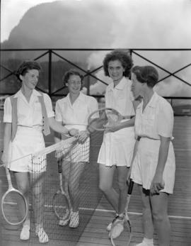[Four women on] tennis [court at] Pacific Mills