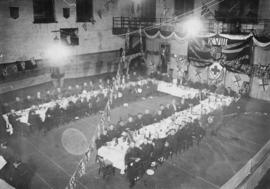 [The first banquet of the 18th Field Ambulance in the Beatty Street Drill Hall]