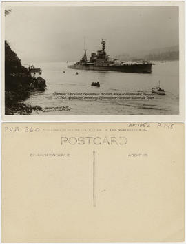 Special Service Squadron. British Navy at Vancouver, Canada. H.M.S. Repulse entering Vancouver Ha...
