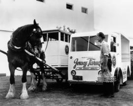Jersey Farms horse drawn delivery vehicle and truck with milkman John Chestnutt