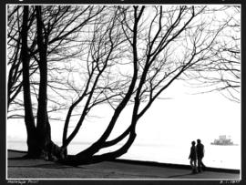 [Couple walking along sea wall at] Hallelujah Point