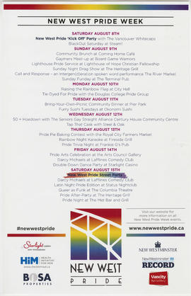 New West Pride Week [schedule of events]