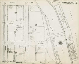 Plan of Vancouver, 1889 [fire map] : [Burrard Inlet to Burrard Street to Pender Street to Granvil...