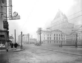 [View of] Western Photo building [and surrounding buildings from Robson Street and Granville Street]