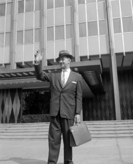 [Actor posing outside the B.C. Hydro building on Burrard Street taken as a still for a film produ...