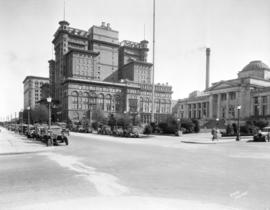 [View along Georgia Street, looking east from Hornby Street, showing Court House, Hotel Vancouver...