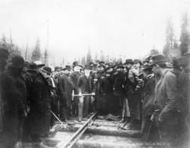 Gold Range Views - Driving the Golden Spike, by the Hon. D.A. Smith, on C.P.R.