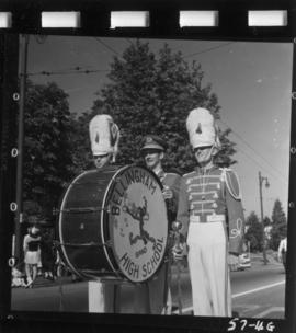 Bellingham High School Band members in 1957 P.N.E. Opening Day Parade