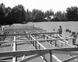 [Carpenters constructing the Timber Bowl Stadium at Brockton Point for the Diamond Jubilee]