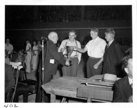 Prize presentation at livestock competition