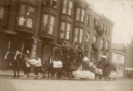 [Red Cross Brewery wagon, decorated for parade, on 400 block Cordova Street in front of Holland B...