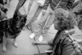 Theresa Galloway and police dog Sport at drinking fountain inauguration