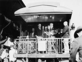 C.A. Cottrell, Asst. Gen. Mgr., C.P.R. addressing assemblage at C.P.R. Station Vancouver, July 3r...