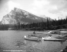 3119. Twin Peaks and Boats, Bow River, Banff