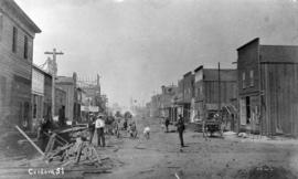 Cordova St[reet looking west from Carrall Street] : July 1886 - five weeks after the fire.