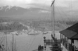[View of the Lions Gate Bridge under construction from the lookout at Prospect Point]