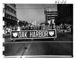 Oak Harbor High School band marching in 1956 P.N.E. Opening Day Parade