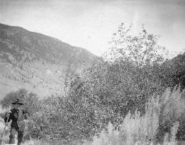 J.A. Teit [beside]  clump of Saskatoons with sagebrush in foreground (en route to Botanie)