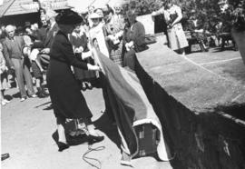 "[Mrs. Walter Winsby (nee Saunders) unveils the walking beam of the S.S. ""Beaver"" at Pro..."