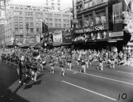 Ferndale High School Golden Eagles marching band in 1955 P.N.E. Opening Day Parade