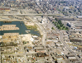 Aerial view of Mount Pleasant, False Creek, at Main Street and Terminal Avenue, with Canadian Cen...