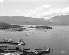 [View of C.P.R. Pier 'B', Deadman's Island, Stanley Park and the North Shore from the top of the ...