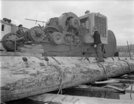[Caterpillar for moving logs at] Pacific Mills [on the] Queen Charlotte Islands