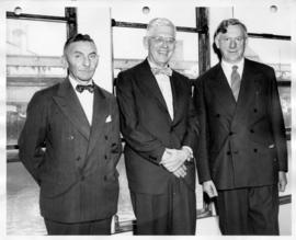 Group photo of Sherwood Lett, Harold Dodds, and Norman MacKenzie