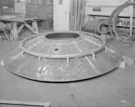 Bottom core and charge ring for Taber pans  fabricated in refinery plate shop, Vancouver