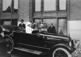 "Harry Gale [(Vancouver Alderman and Mayor) and car labelled ""Vancouver""]"