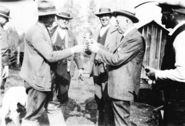 [L.D. Taylor with group of pheasant hunters]